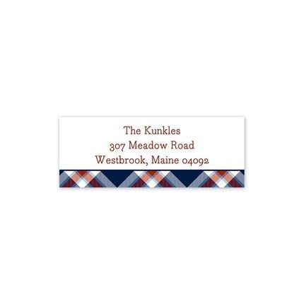 Plaid Navy Address Label