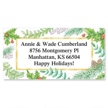 Christmas Greenery Border Custom Address Labels