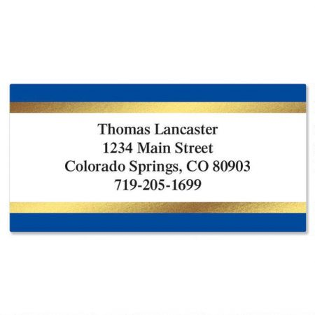 Blue and Gold Foil Border Custom Address Labels