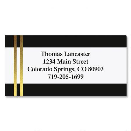 Black and Double Gold Foil Border Custom Address Labels