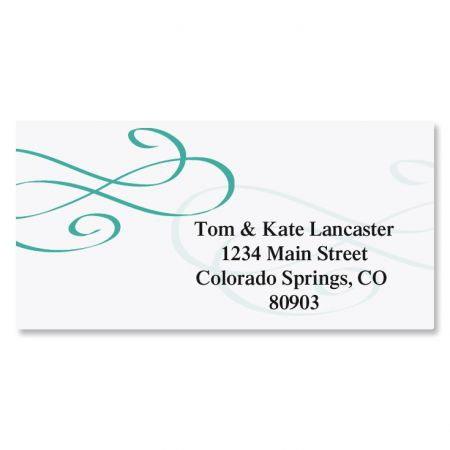 Tiffany Border Address Labels-Teal-A587B
