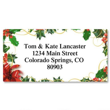 Holly Bow Christmas Border Custom Address Labels