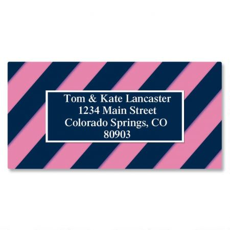 Navy and Pink Border Custom Address Labels
