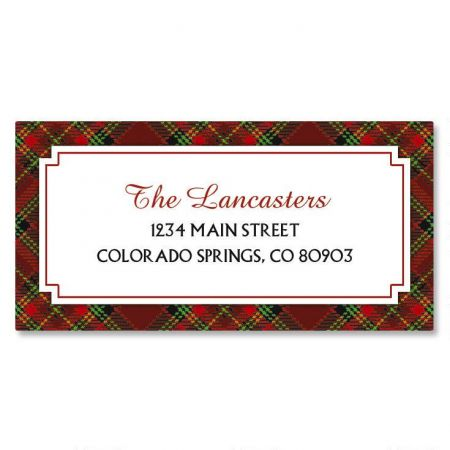 Plaid Border Christmas Custom Address Labels