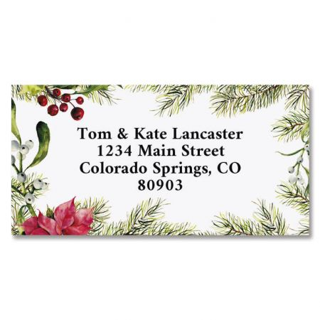 Fir Branch Border Custom Address Labels