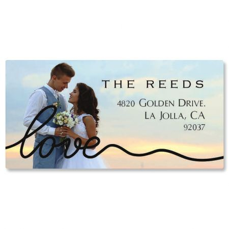 Love Black Caption Border Photo Custom Address Labels