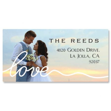 Love White Caption Border Photo Custom Address Labels
