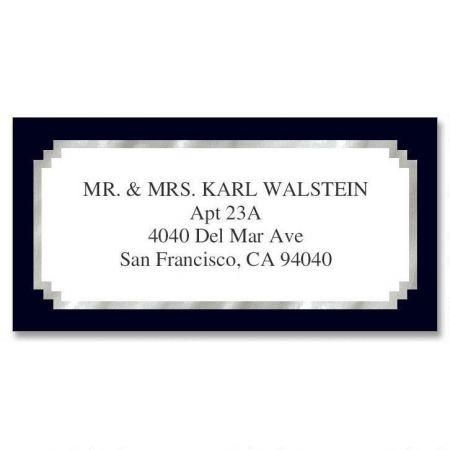 Black & Silver Foil Border Custom Address Labels