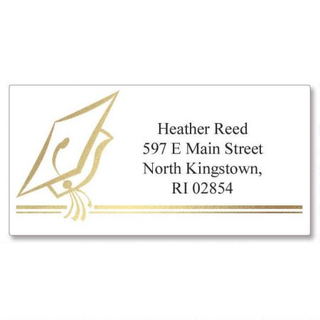 Hats Off Graduation Foil Border Custom Address Labels