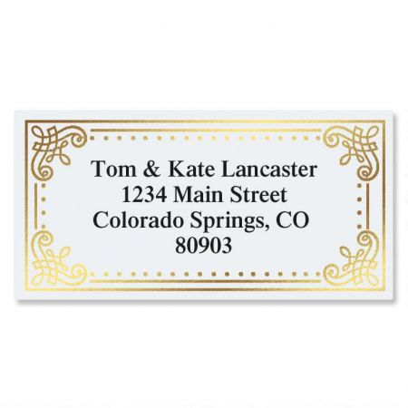 Delicate Antique Foil Border Custom Address Labels