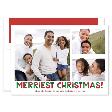 Upbeat Merriest Christmas Photo Card