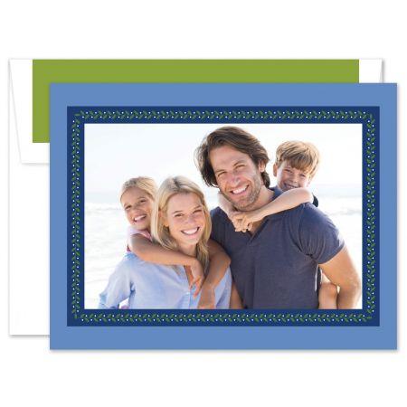 Vine Ribbon Blue Photo Card