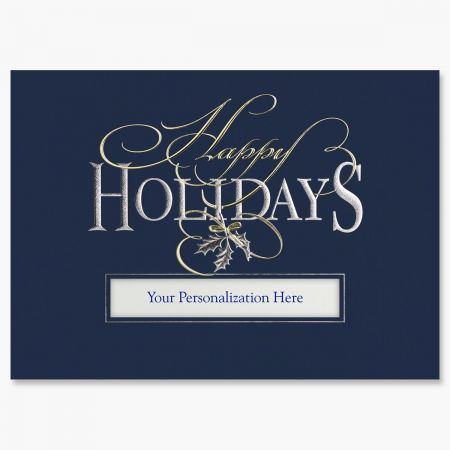 Silver and Gold Happy Holidays Greeting Card