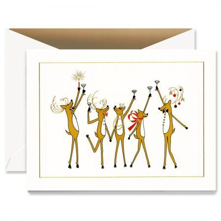 Toasting Reindeer Greeting Card