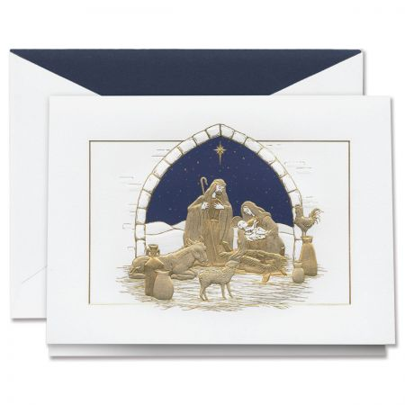 Engraved Peaceful Manger Holiday Greeting Cards Boxed Set