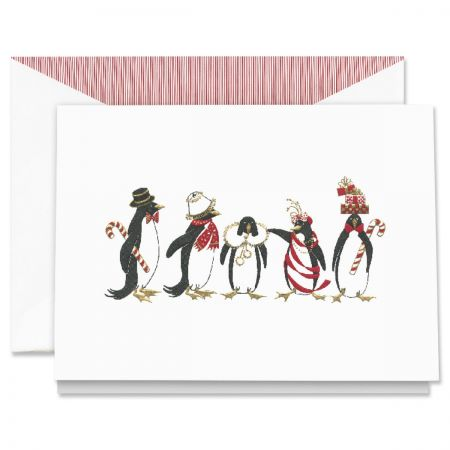 Engraved Holiday Penguins Holiday Greeting Cards Boxed Set