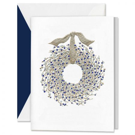 Engraved Juniper Berry Wreath Holiday Greeting Cards Boxed Set