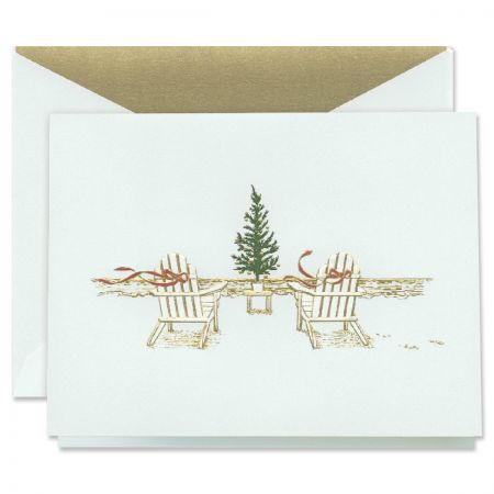Engraved Seaside Christmas Holiday Greeting Cards Boxed Set