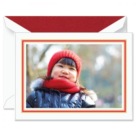 Classic Red and Gold Frame Photo Mount Holiday Greeting Cards Boxed Set