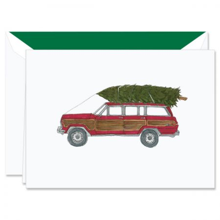 Digital Jeep with Tree Holiday Greeting Cards Boxed Set