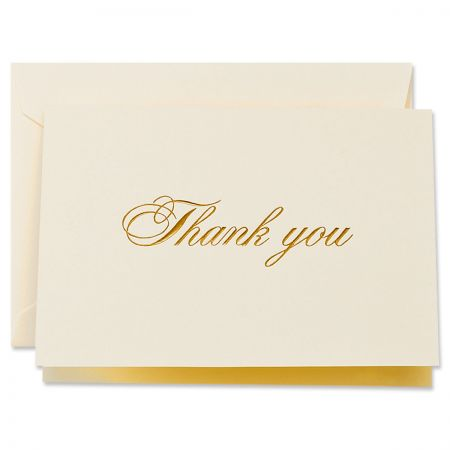 Gold Script Thank You Cards Boxed Set