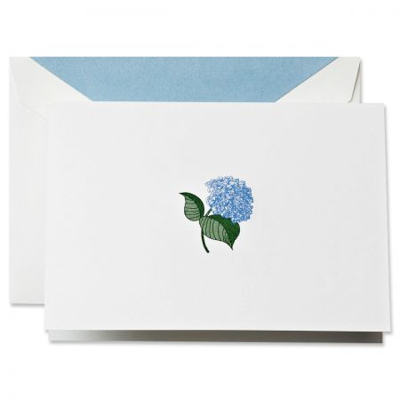 Engraved Blue Hydrangea Note Cards Boxed Set