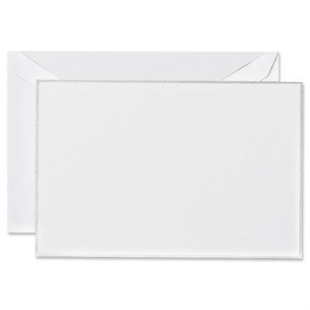 Engraved Platinum Bordered White Correspondence Cards Boxed Set