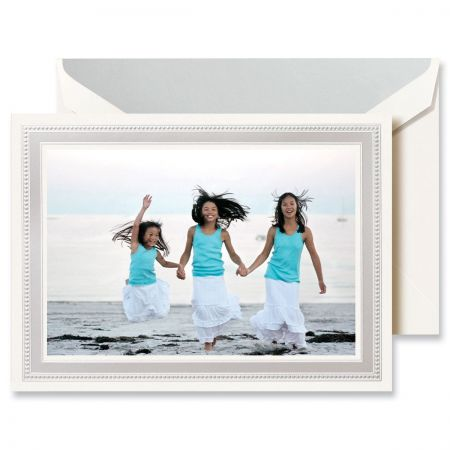 Silver Beaded Border Mounted Photo Card