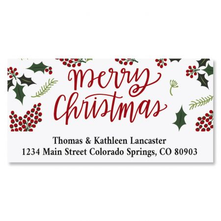 Berry Border Deluxe Christmas Custom Address Labels