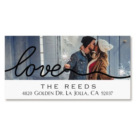 Love Black Caption Deluxe Photo Custom Address Labels