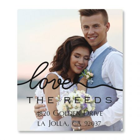 Love Black Caption Select Photo Custom Address Labels