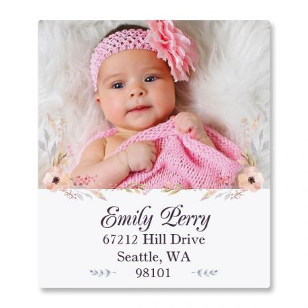 Floral Cameo Select Photo Custom Address Labels