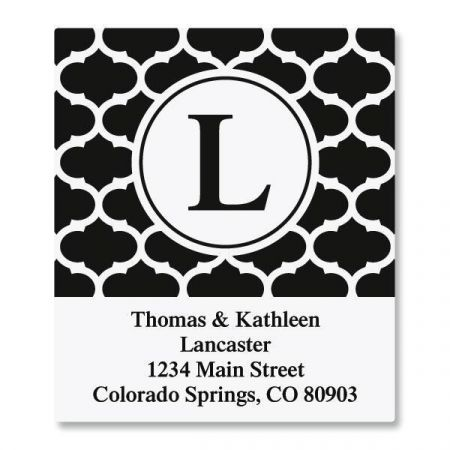 Quatrefoil Script Initial Select Custom Address Labels