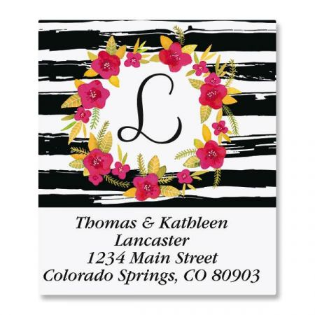 Vivid Wreath Initial Select Custom Address Labels