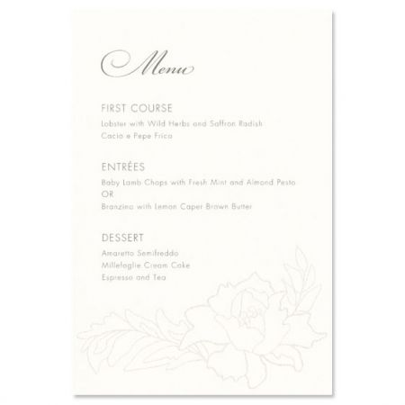 Chantilly Lace Menu Card