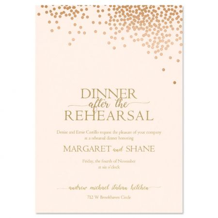 Blush Card with Layer Rehearsal Dinner Invitation
