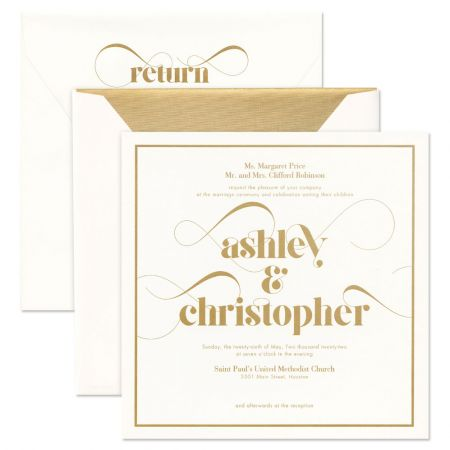 Extra Large Square Premium Weight Invitation with Gold Frame