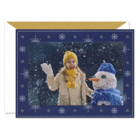 Snowflakes On Navy Mounted Photo Card