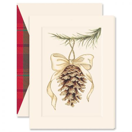 Elegant Pinecone Ornament Greeting Card