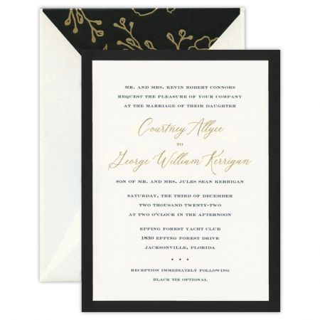 Opulence Black Card with Gilt-Edge Layer Invitation