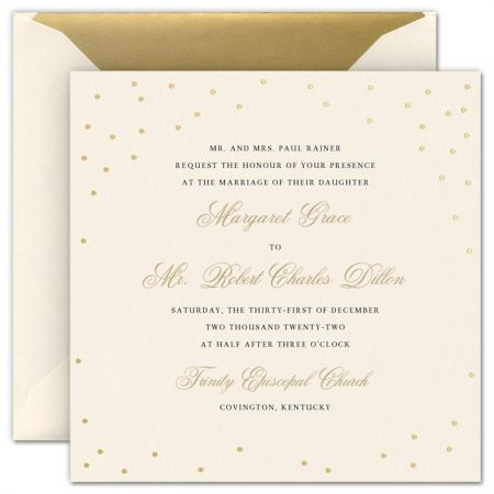 Celebration Gold Confetti Large Square Invitation