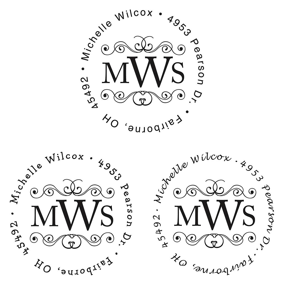 Round Monogram Custom Address Stamp