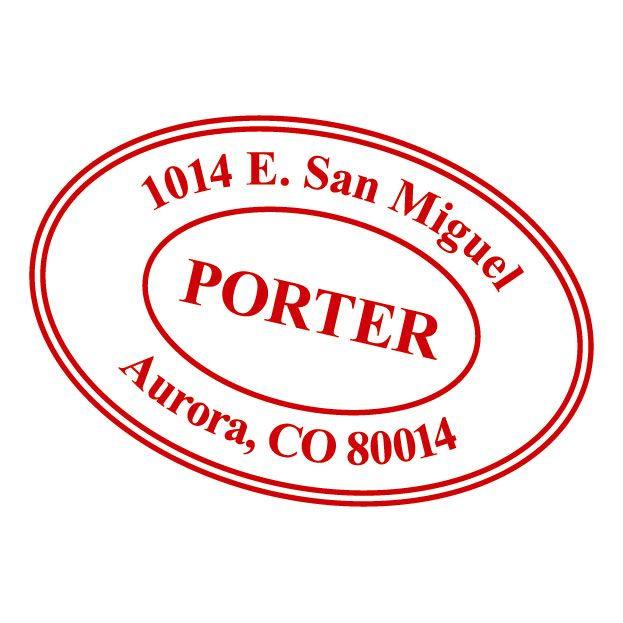 Oval Custom Address Stamp-Red Ink-478014