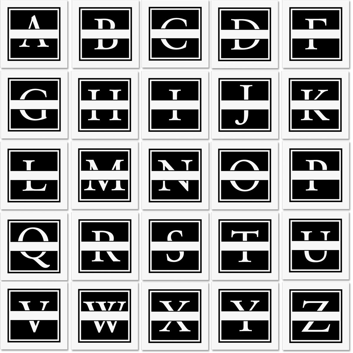 Front & Center Square Initial Address Stamp-Black-478037A