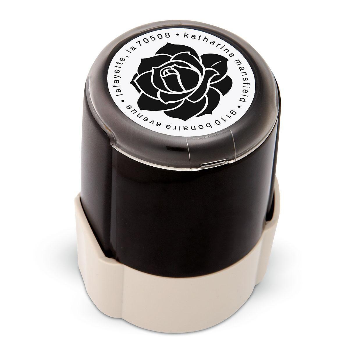 Rose Round Custom Address Stamp