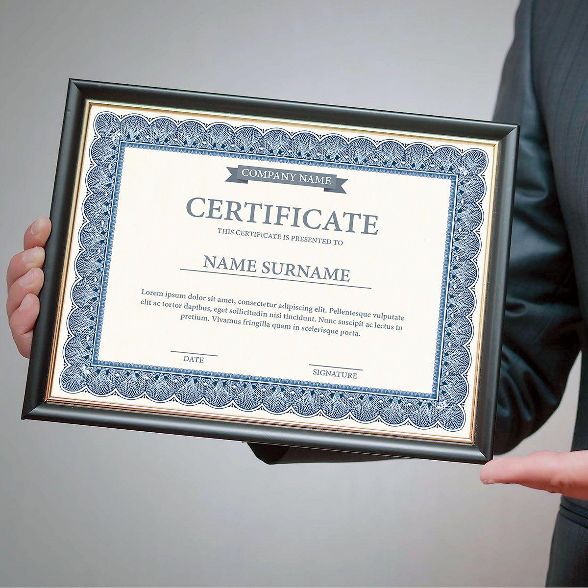 Elite Blue Certificate Paper on White Parchment