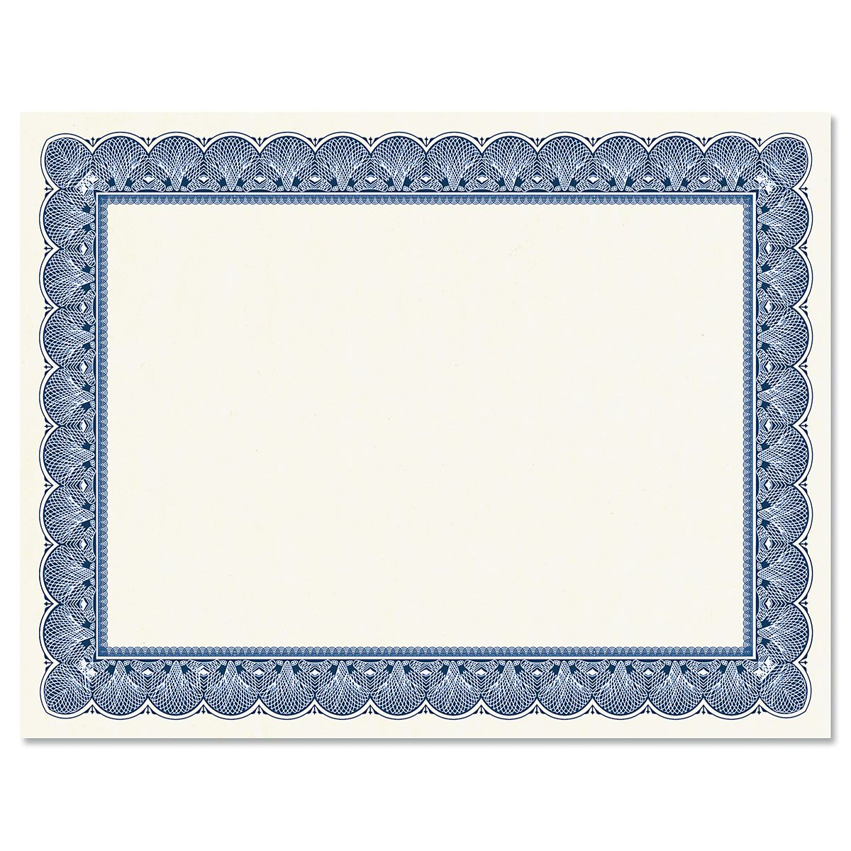 Elite Blue Certificate Paper on White Parchment