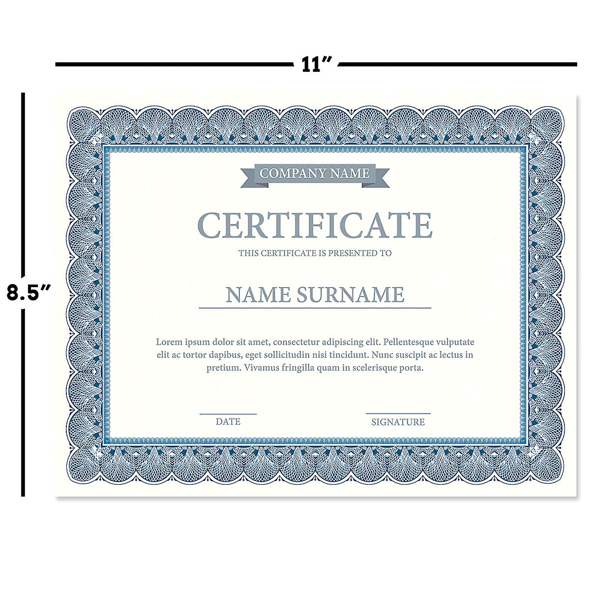 Elite Blue Certificate on White Parchment - Set of 100