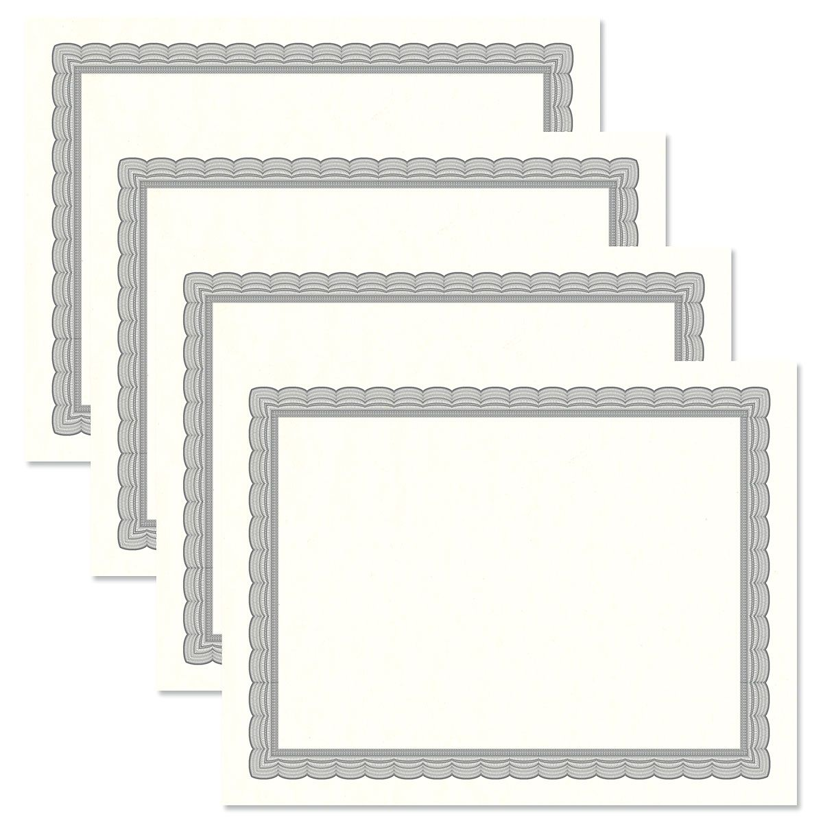 Executive Gray Certificate on White Parchment - Set of 25