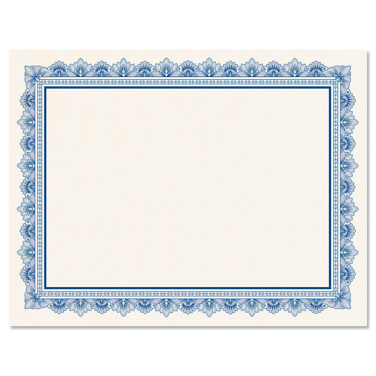 Intricate Blue Certificate on White Parchment - Set of 100